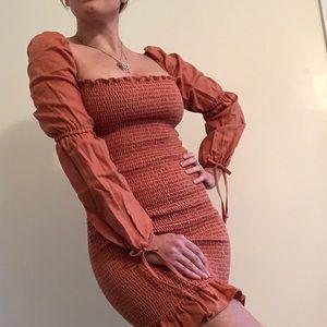 REFORMATION Hilary Long Sleeve Minidress in Salmon